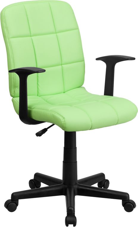 Wholesale Mid-Back Green Quilted Vinyl Swivel Task Office Chair with Arms