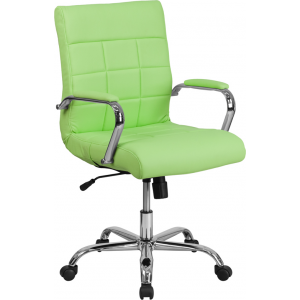 Wholesale Mid-Back Green Vinyl Executive Swivel Office Chair with Chrome Base and Arms