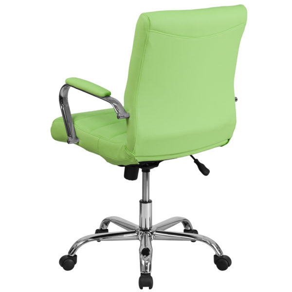 Contemporary Office Chair Green Mid-Back Vinyl Chair