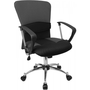 Wholesale Mid-Back Grey Mesh Swivel Task Office Chair with Adjustable Lumbar Support and Arms