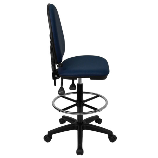 Lowest Price Mid-Back Navy Blue Fabric Multifunction Ergonomic Drafting Chair with Adjustable Lumbar Support
