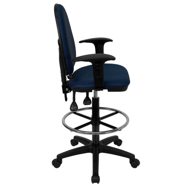 Lowest Price Mid-Back Navy Blue Fabric Multifunction Ergonomic Drafting Chair with Adjustable Lumbar Support & Adjustable Arms
