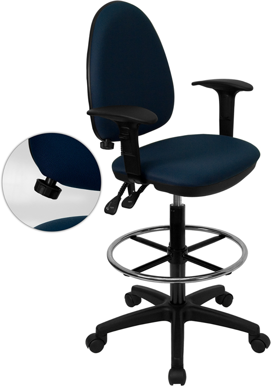 Wholesale Mid-Back Navy Blue Fabric Multifunction Ergonomic Drafting Chair with Adjustable Lumbar Support & Adjustable Arms