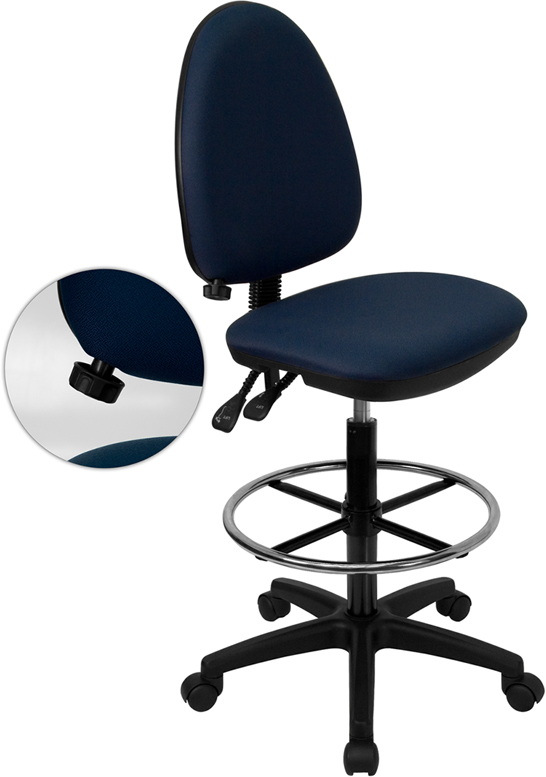 Wholesale Mid-Back Navy Blue Fabric Multifunction Ergonomic Drafting Chair with Adjustable Lumbar Support