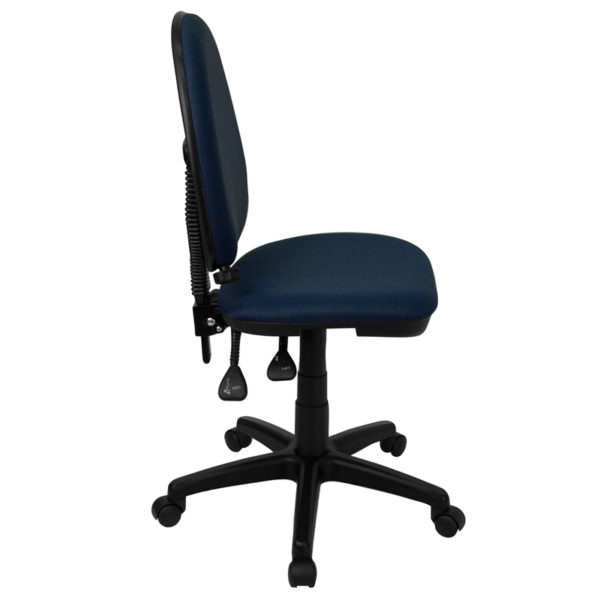 Lowest Price Mid-Back Navy Blue Fabric Multifunction Swivel Ergonomic Task Office Chair with Adjustable Lumbar Support