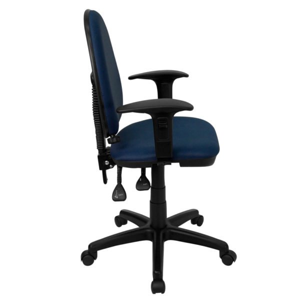 Lowest Price Mid-Back Navy Blue Fabric Multifunction Swivel Ergonomic Task Office Chair with Adjustable Lumbar Support & Arms