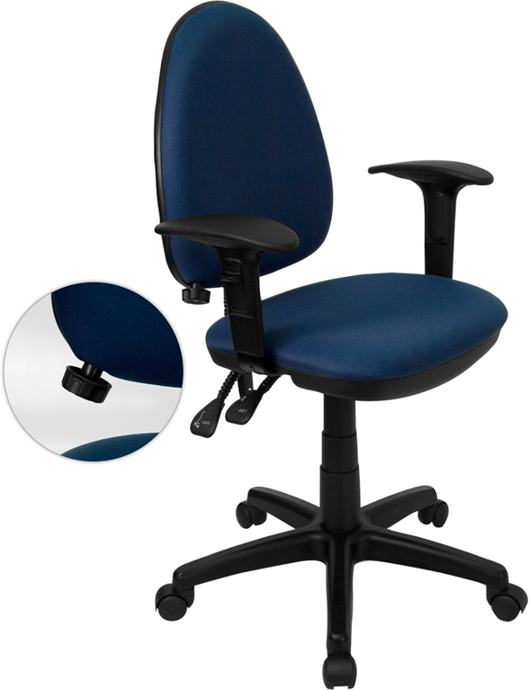 Wholesale Mid-Back Navy Blue Fabric Multifunction Swivel Ergonomic Task Office Chair with Adjustable Lumbar Support & Arms