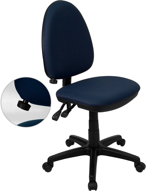Wholesale Mid-Back Navy Blue Fabric Multifunction Swivel Ergonomic Task Office Chair with Adjustable Lumbar Support