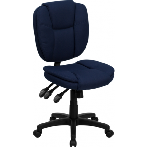 Wholesale Mid-Back Navy Blue Fabric Multifunction Swivel Ergonomic Task Office Chair with Pillow Top Cushioning