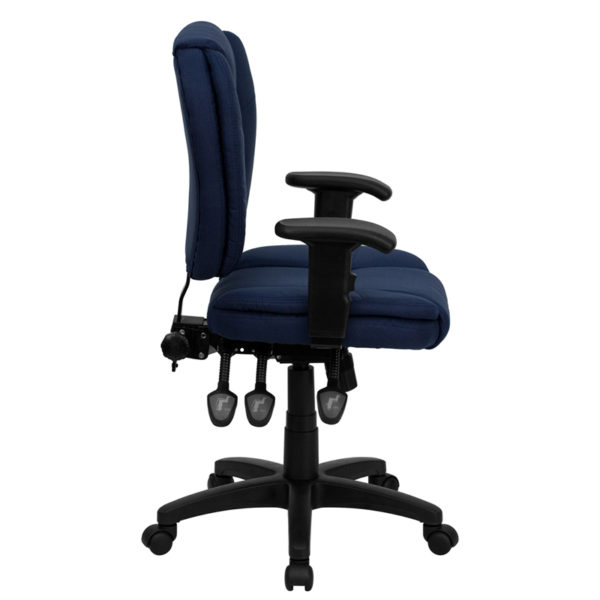 Lowest Price Mid-Back Navy Blue Fabric Multifunction Swivel Ergonomic Task Office Chair with Pillow Top Cushioning and Arms