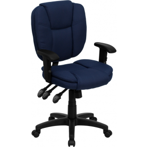Wholesale Mid-Back Navy Blue Fabric Multifunction Swivel Ergonomic Task Office Chair with Pillow Top Cushioning and Arms