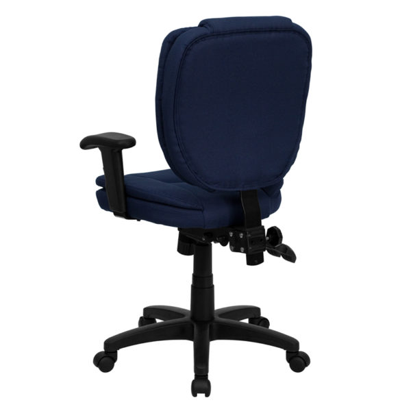 Contemporary Task Office Chair Navy Mid-Back Fabric Chair