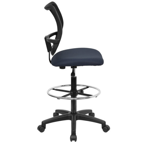 Lowest Price Mid-Back Navy Blue Mesh Drafting Chair