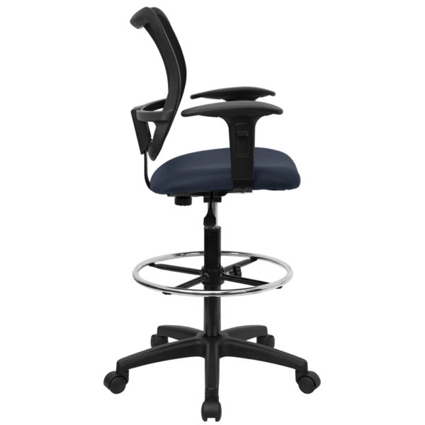 Lowest Price Mid-Back Navy Blue Mesh Drafting Chair with Adjustable Arms