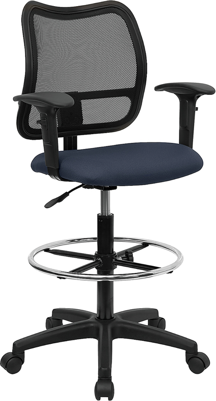 Wholesale Mid-Back Navy Blue Mesh Drafting Chair with Adjustable Arms