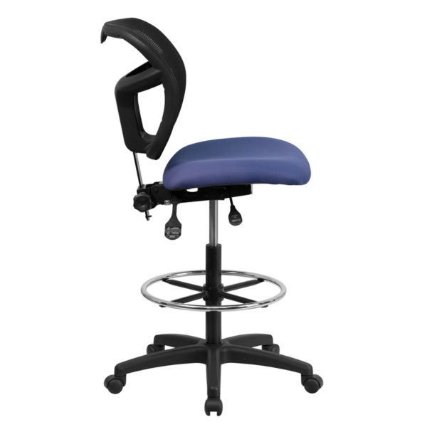 Lowest Price Mid-Back Navy Blue Mesh Drafting Chair with Back Height Adjustment