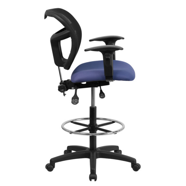 Lowest Price Mid-Back Navy Blue Mesh Drafting Chair with Back Height Adjustment and Adjustable Arms