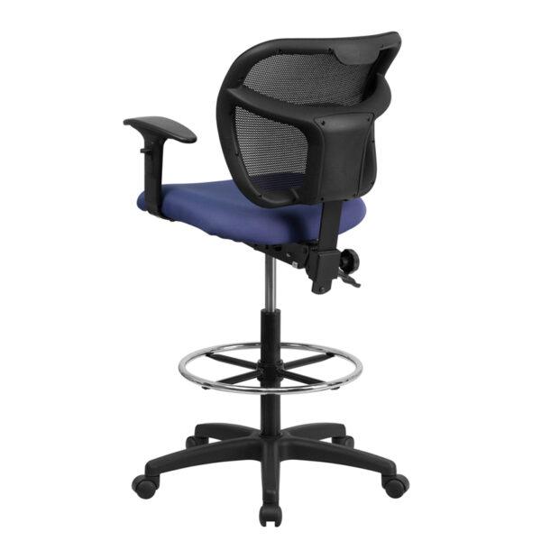 Contemporary Draft Stool Navy Mesh Draft Chair w/ Arms