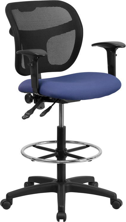 Wholesale Mid-Back Navy Blue Mesh Drafting Chair with Back Height Adjustment and Adjustable Arms