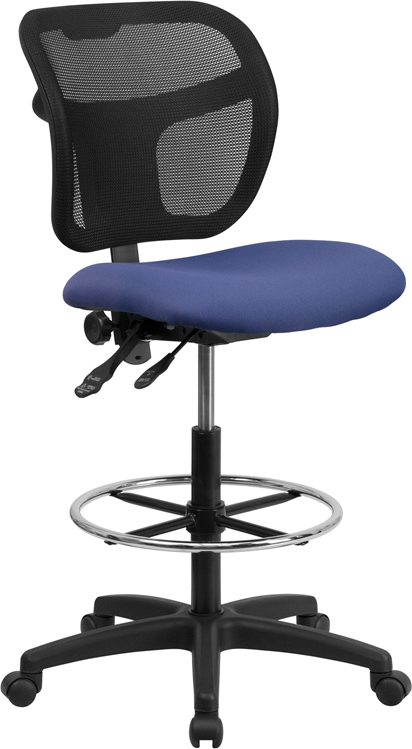 Wholesale Mid-Back Navy Blue Mesh Drafting Chair with Back Height Adjustment