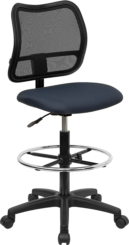 Wholesale Mid-Back Navy Blue Mesh Drafting Chair
