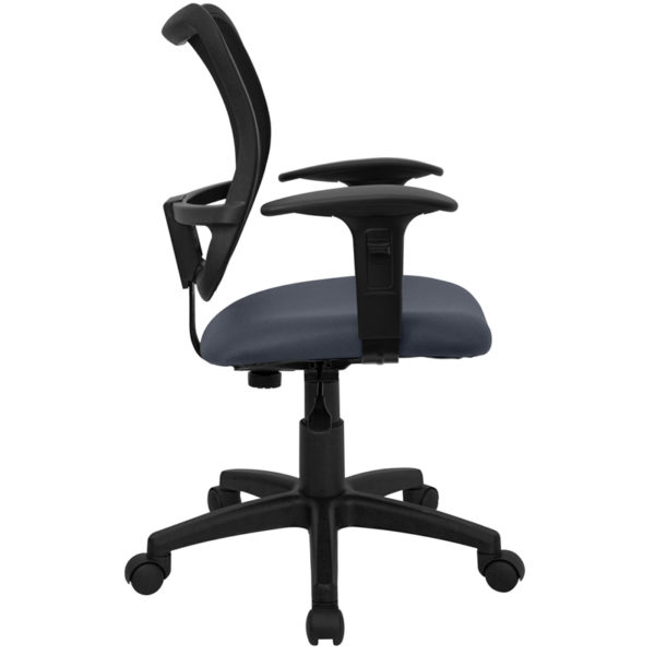 Lowest Price Mid-Back Navy Blue Mesh Swivel Task Office Chair with Adjustable Arms