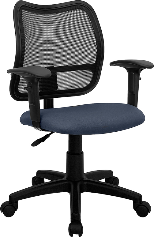 Wholesale Mid-Back Navy Blue Mesh Swivel Task Office Chair with Adjustable Arms