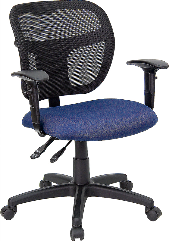 Wholesale Mid-Back Navy Blue Mesh Swivel Task Office Chair with Back Height Adjustment and Adjustable Arms