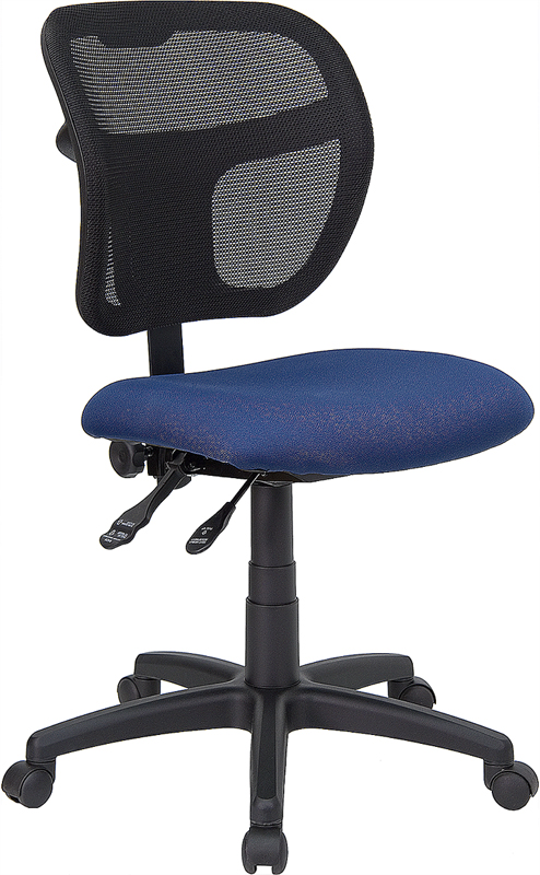 Wholesale Mid-Back Navy Blue Mesh Swivel Task Office Chair with Back Height Adjustment