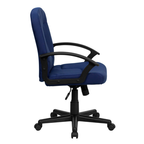 Lowest Price Mid-Back Navy Fabric Executive Swivel Office Chair with Nylon Arms