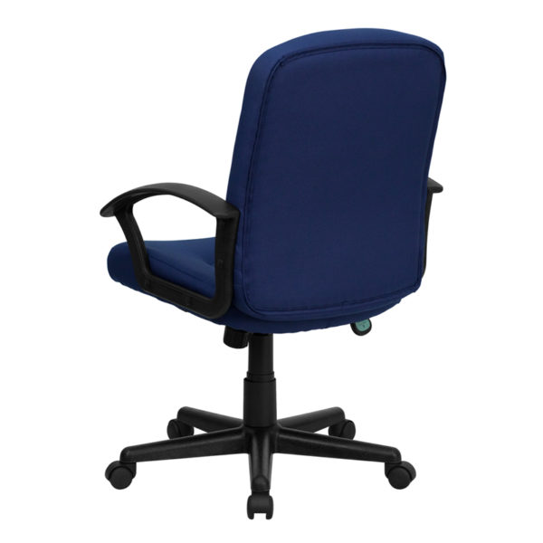 Contemporary Office Chair Navy Mid-Back Fabric Chair