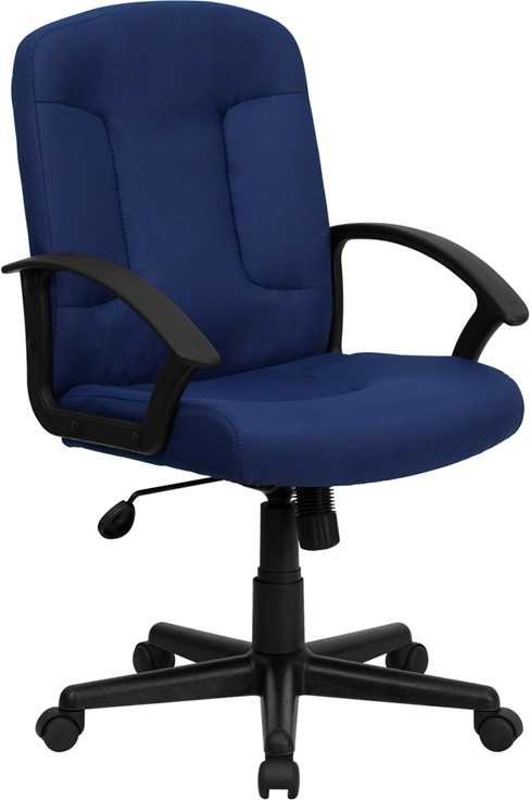 Wholesale Mid-Back Navy Fabric Executive Swivel Office Chair with Nylon Arms