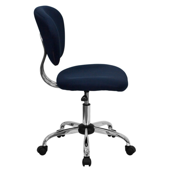 Lowest Price Mid-Back Navy Mesh Padded Swivel Task Office Chair with Chrome Base