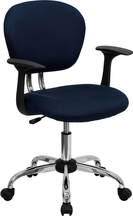 Wholesale Mid-Back Navy Mesh Padded Swivel Task Office Chair with Chrome Base and Arms