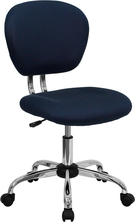 Wholesale Mid-Back Navy Mesh Padded Swivel Task Office Chair with Chrome Base