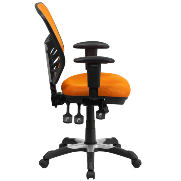 Lowest Price Mid-Back Orange Mesh Multifunction Executive Swivel Ergonomic Office Chair with Adjustable Arms