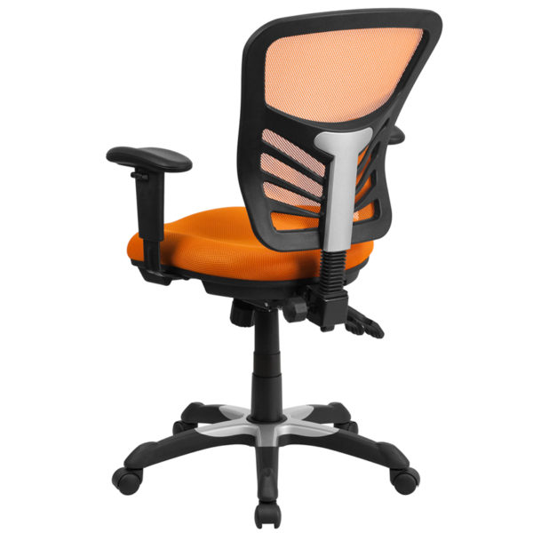 Contemporary Office Chair Orange Mid-Back Mesh Chair