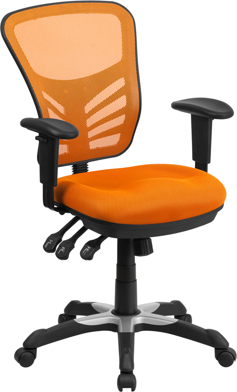 Wholesale Mid-Back Orange Mesh Multifunction Executive Swivel Ergonomic Office Chair with Adjustable Arms