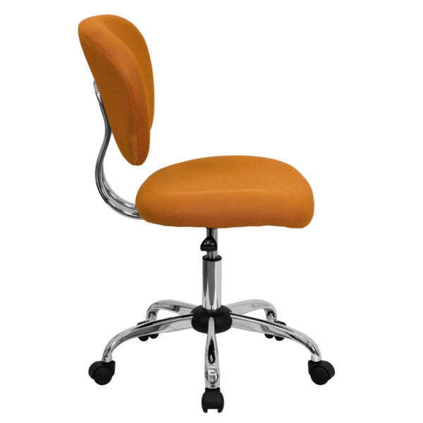 Lowest Price Mid-Back Orange Mesh Padded Swivel Task Office Chair with Chrome Base