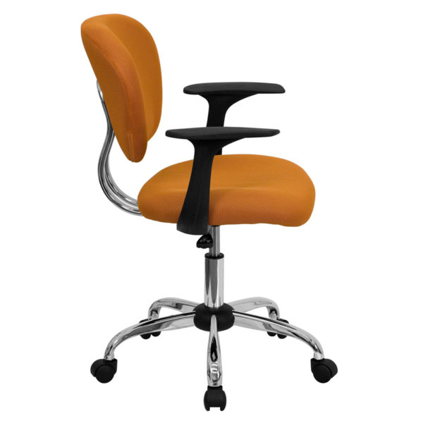 Lowest Price Mid-Back Orange Mesh Padded Swivel Task Office Chair with Chrome Base and Arms