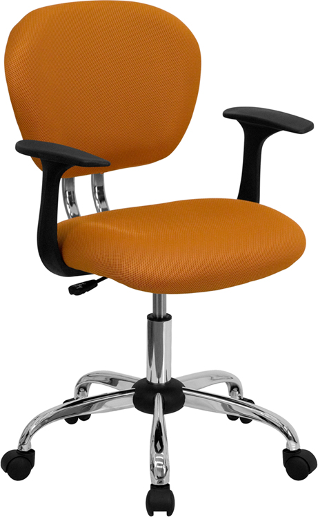 Wholesale Mid-Back Orange Mesh Padded Swivel Task Office Chair with Chrome Base and Arms