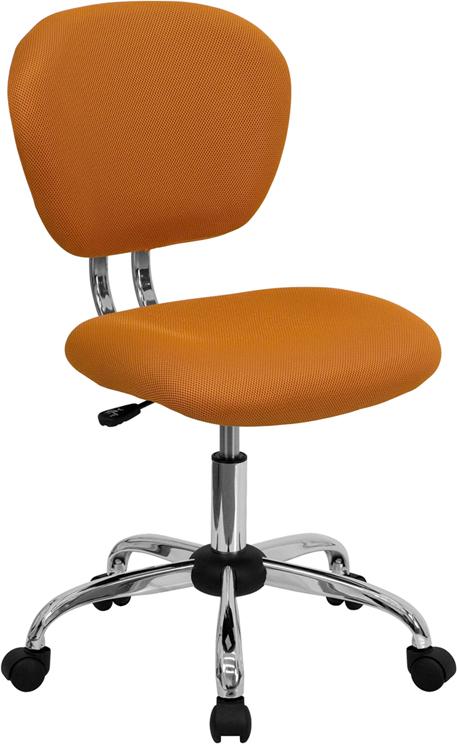 Wholesale Mid-Back Orange Mesh Padded Swivel Task Office Chair with Chrome Base