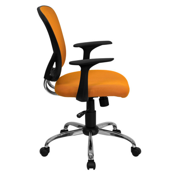 Lowest Price Mid-Back Orange Mesh Swivel Task Office Chair with Chrome Base and Arms