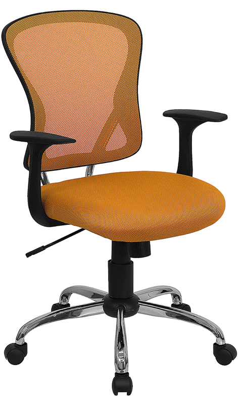 Wholesale Mid-Back Orange Mesh Swivel Task Office Chair with Chrome Base and Arms