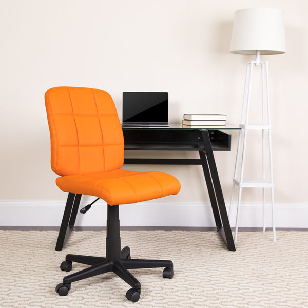 Lowest Price Mid-Back Orange Quilted Vinyl Swivel Task Office Chair