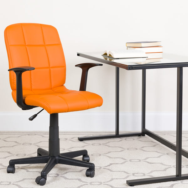 Lowest Price Mid-Back Orange Quilted Vinyl Swivel Task Office Chair with Arms