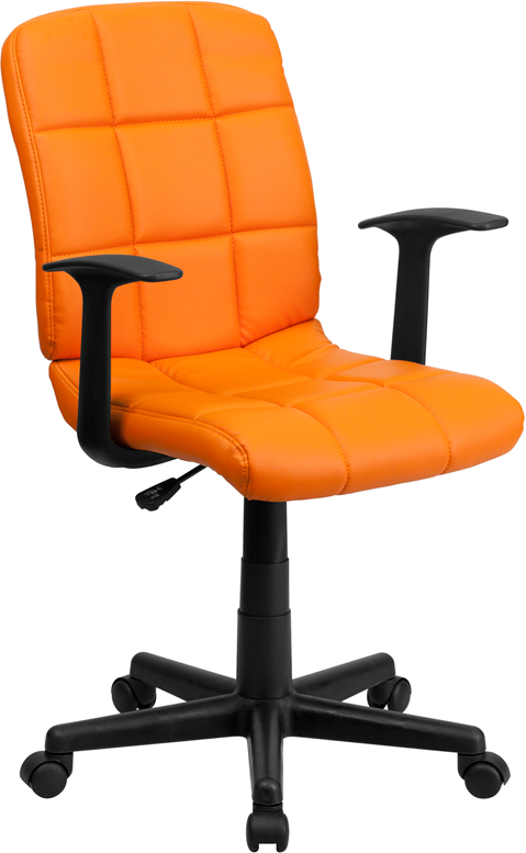 Wholesale Mid-Back Orange Quilted Vinyl Swivel Task Office Chair with Arms