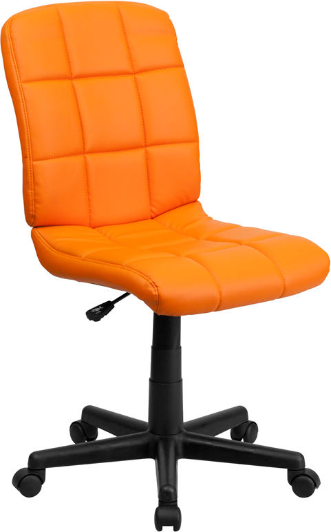 Wholesale Mid-Back Orange Quilted Vinyl Swivel Task Office Chair