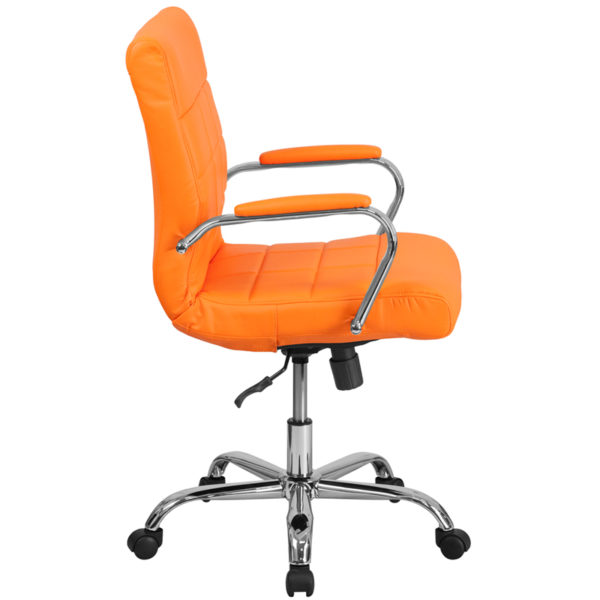 Lowest Price Mid-Back Orange Vinyl Executive Swivel Office Chair with Chrome Base and Arms