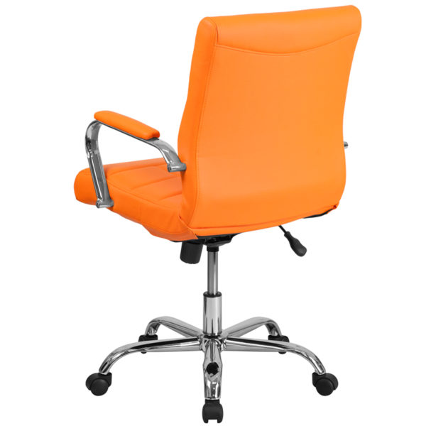 Contemporary Office Chair Orange Mid-Back Vinyl Chair